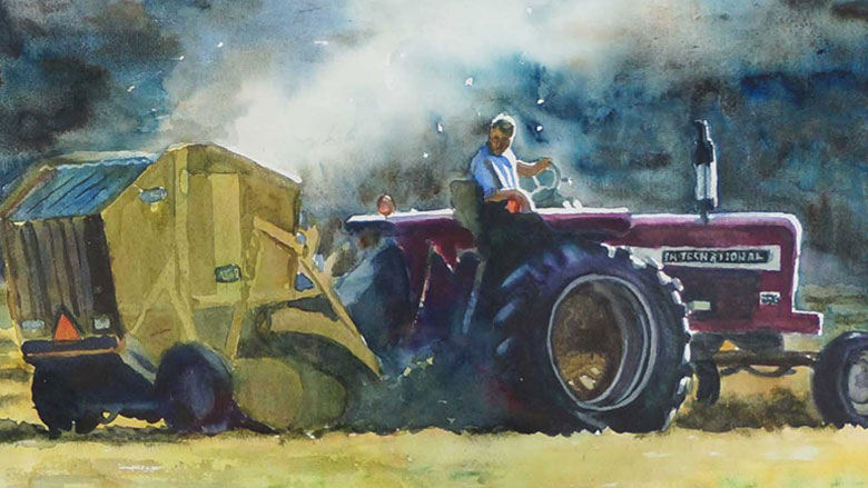 "Barbara Kettner, ""Baling in August,"" 2015. Watercolor on paper."