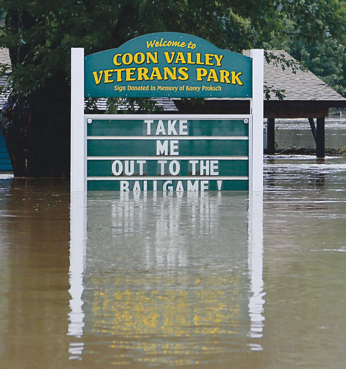 The Coon Valley Village Park was completely submerged by flash flood waters during the flooding of August 27 and 28, 2018. Photo by Jon Lee.