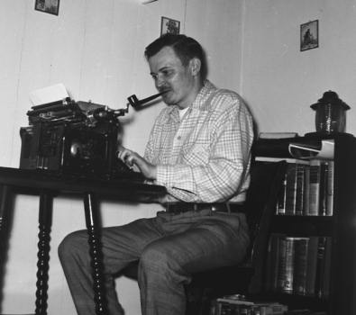 Jack Ritchie at his typewriter, 1959. Photo courtesy of Steven Reitci.