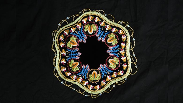 James Kelly, Table Mat. Beads, velvet.