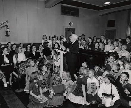 "Edgar ""Pop"" Gordon hosted Let's Sing and Journeys in Music Land, serving thousands of schools around the state. Credit: UW Archives, image S08696"