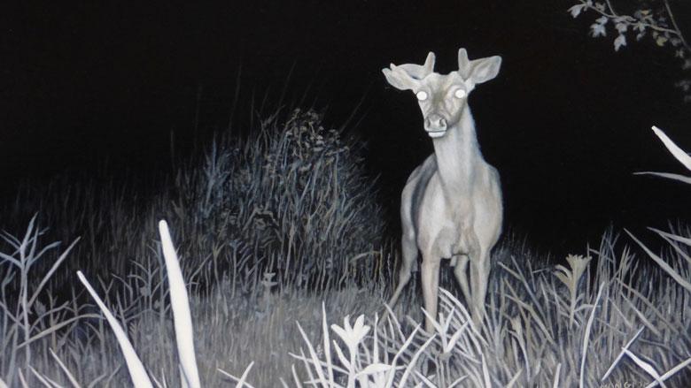 """Valerie Mangion: """"Giraffe Deer,"""" 2015. 12 x 16 inches. Oil on panel."""