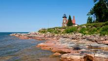 Located on the northern tip of Sand Island, the Gothic-style Sand Island Light was constructed in 1881 from sandstone quarried right at the building site.