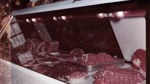 Vintage photo of meat counter