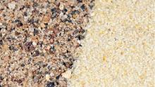 The sand that you would find on a lake bottom or riverbed (left) differs from frac sand (right) on both an atomic and geologic scale.