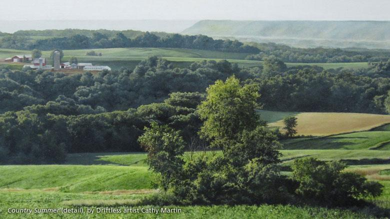 Richland Center artist Cathy Martin's painting, Country Summer (detail), shows rolling hills of the Driftless Region.