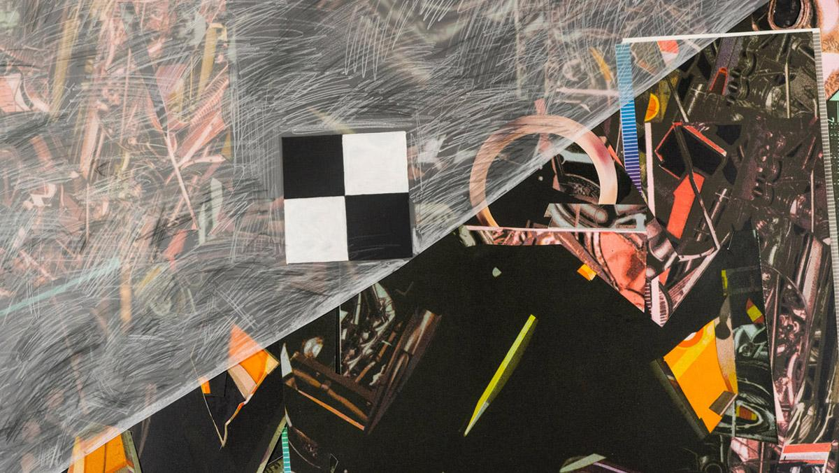 Jack Damer, Checker, 2003. Lithograph and collage, 38 x 47 inches.