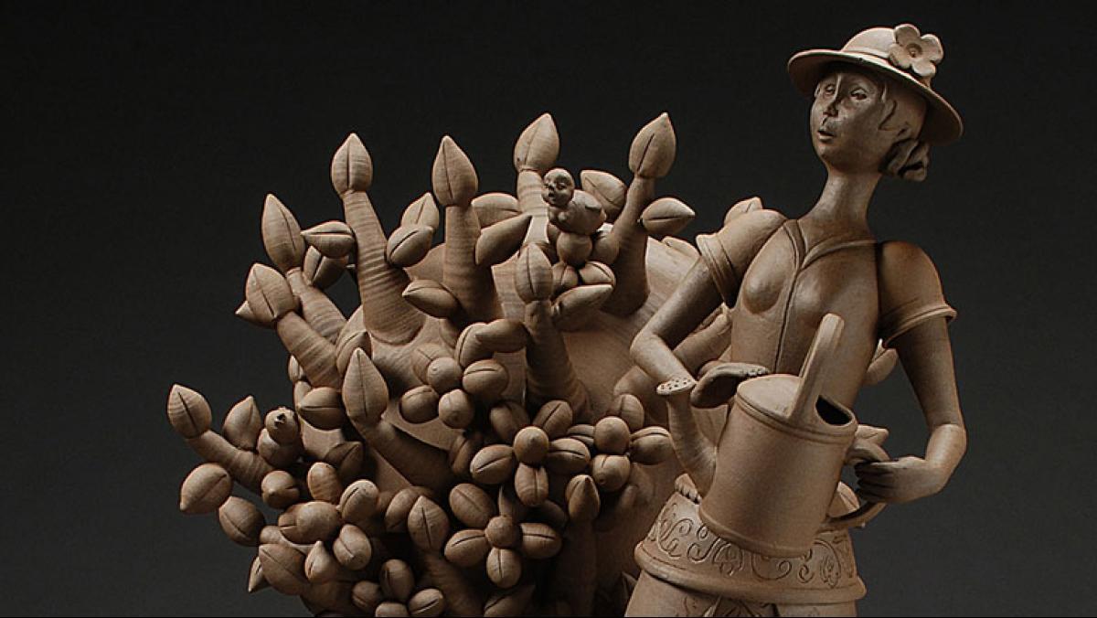 Gerit Grimm, Gardener, 2012. Stoneware (reduction cone 6), 39 x 23 x 25 inches