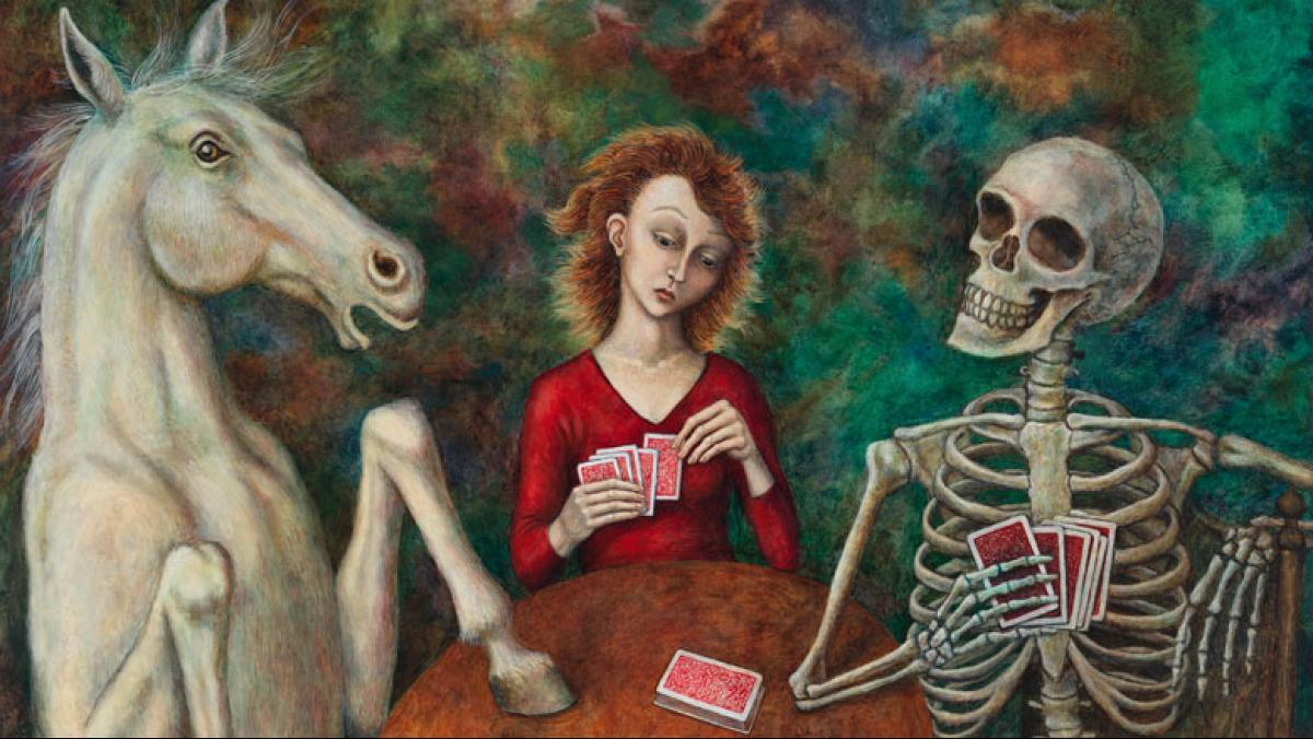 Gina Litherland, A Friendly Game, 2015. Oil on panel, 20 x 24 inches