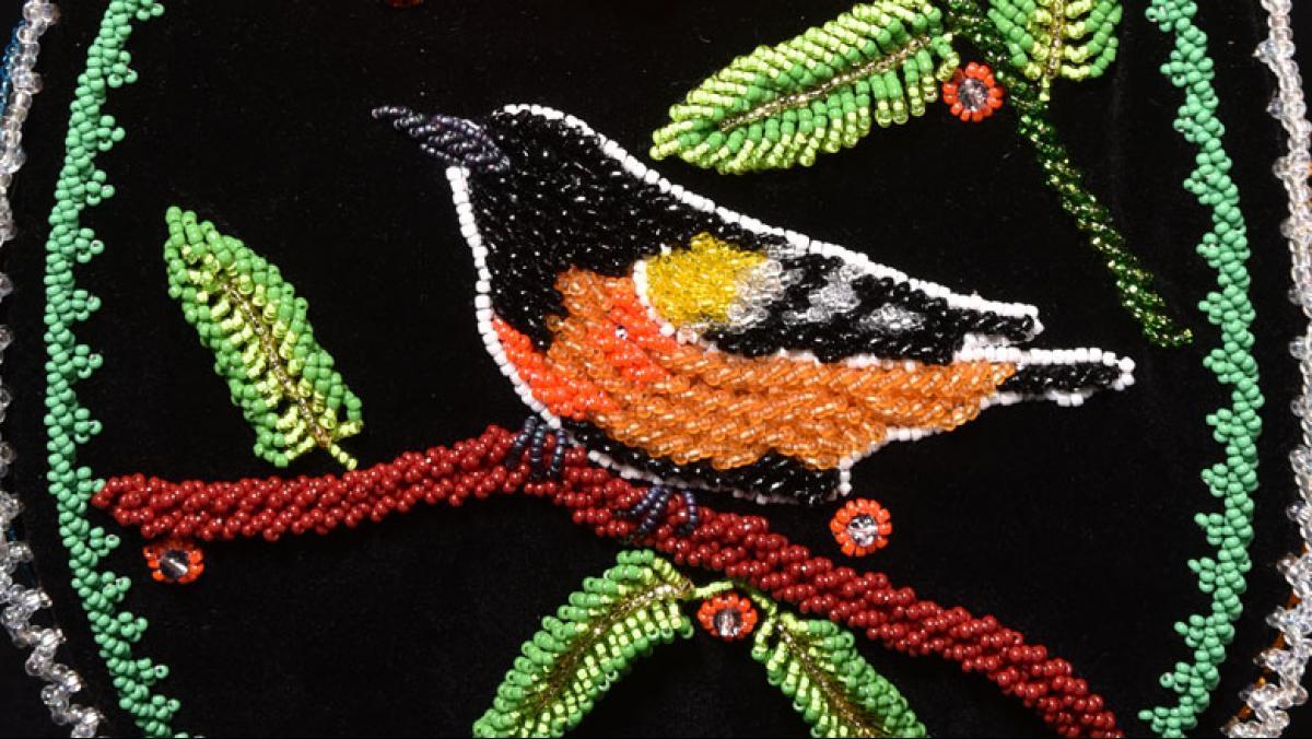Sandra Wescott Gauthier, My Backyard Birds Vase (detail), 2016. Glass beads, velvet, calico