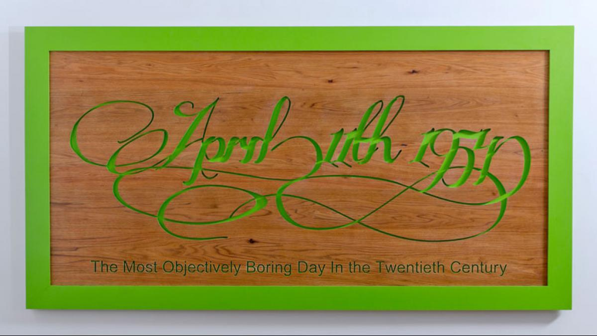 Will Pergl, The Most Boring Day of the Twentieth Century, 2011. Digitally carved wood, paint, 40 x 76 x 4 in.