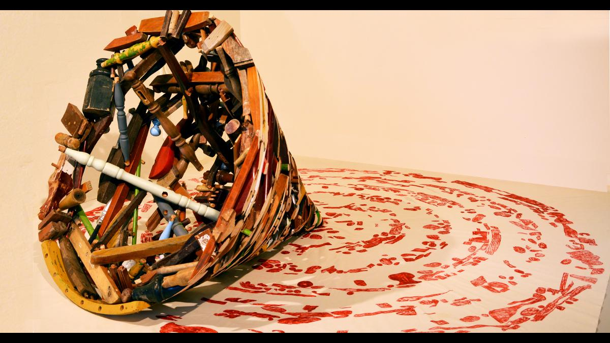 Andrew Redington, Roundabout, 2016. Sculpture, upcycled furniture, canvas,  70 by 70 by 30 inches.