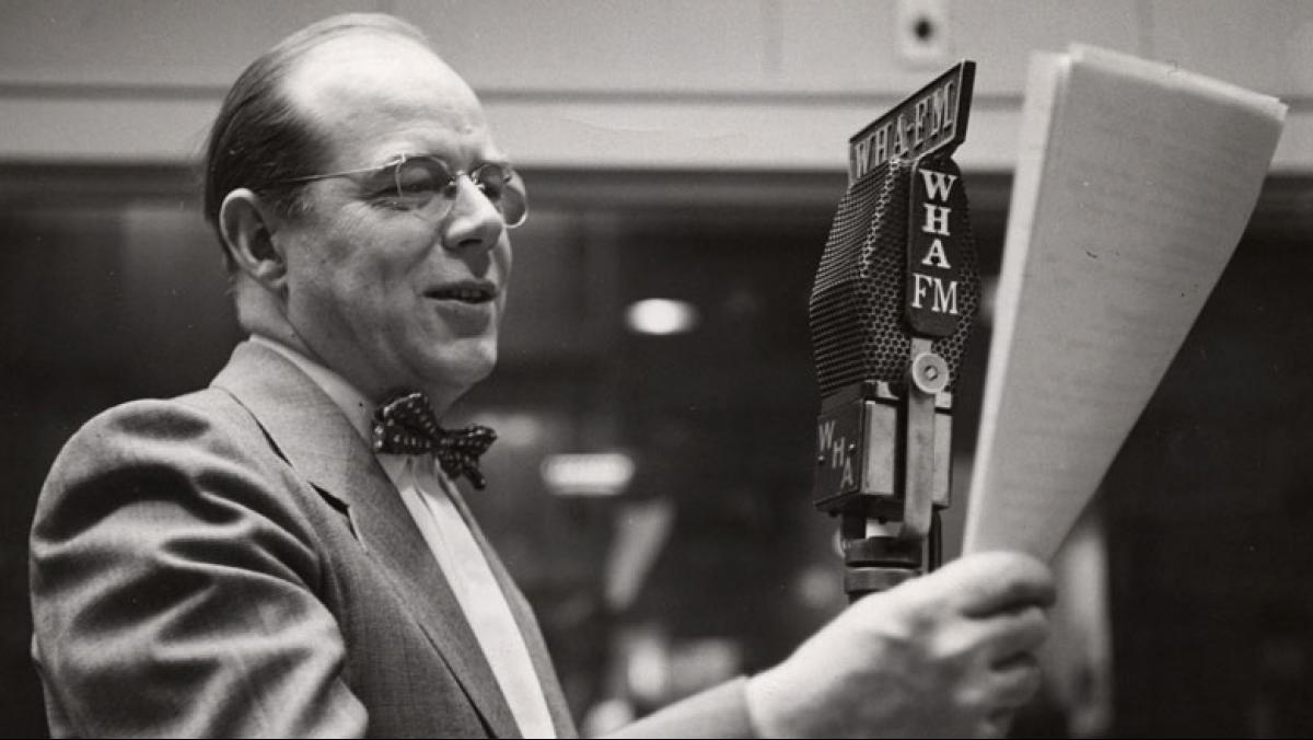 James Schwalbach recording a Let's Draw program in WHA's Radio Hall. Courtesy of the University of Wisconsin Archives #S14465.