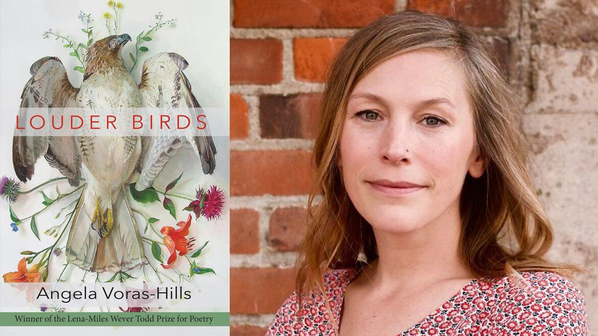 Image of poet Angela Voras-Hills and her poetry book