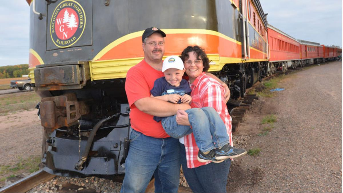 Greg, Mardell, and Alexander Vreeland of the Great Northern Wisconsin Railroad, which is one of the only family-owned heritage railroad operations in the country.