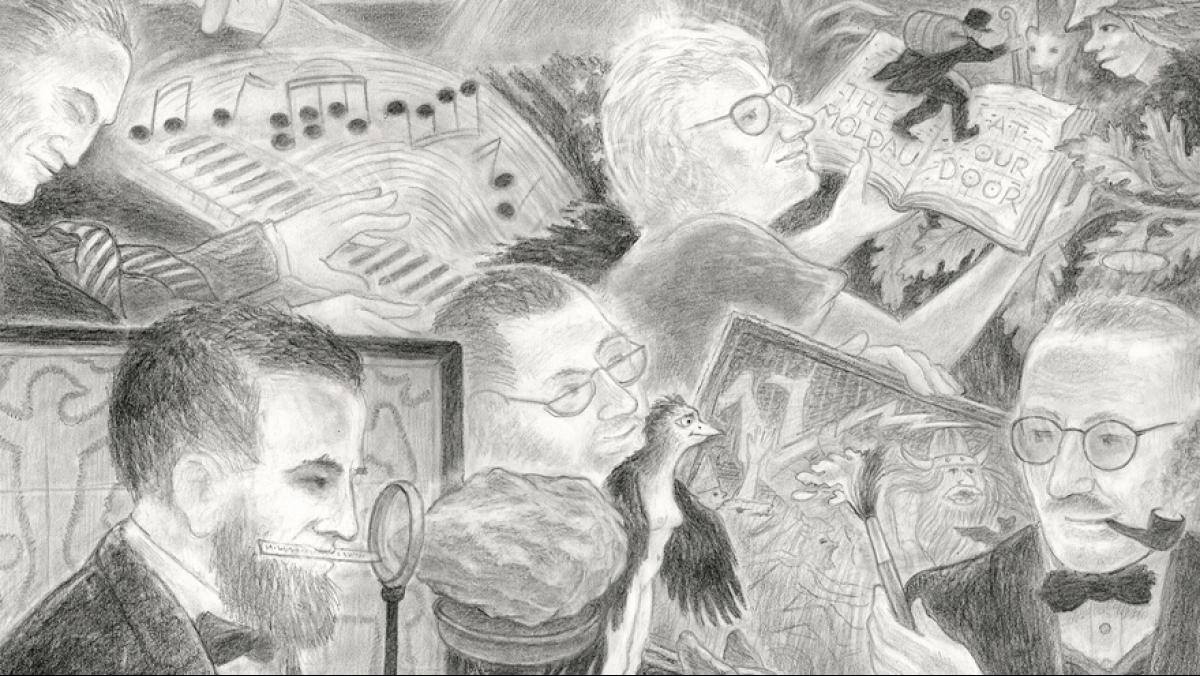 "A closeup of Randall Berndt's  illustration created for the Academy's anniversary, ""A Select Few: Wisconsin Academy Luminaries,"" 2020. Graphite on paper, 25 by 23 inches."