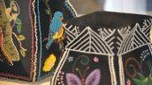 Raised beadwork by Sandra Wescott Gauthier (l) and Rebecca Webster (r).
