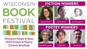 A slide featuring the contest winners names, faces, and the WI Book Festival logo