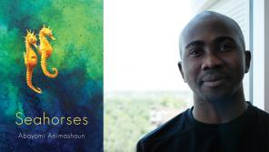 Photo of book jacket cover and author