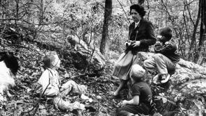 In its October 1962 issue, Life magazine included this photo of Carson talking with children in the woods by her home. Photo credit: All rights reserved © 1962 Alfred Eisenstaedt (Time & Life Pictures)