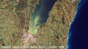 Near true-color image of Green Bay from October 1999, showing the immense scale of the algal bloom in the bay.