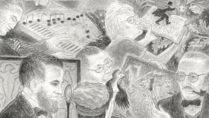 """A closeup of Randall Berndt's  illustration created for the Academy's anniversary, """"A Select Few: Wisconsin Academy Luminaries,"""" 2020. Graphite on paper, 25 by 23 inches."""