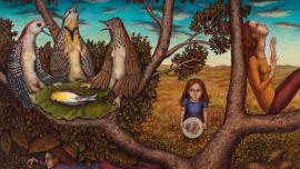 Gina Litherland, Bird Funeral, 2015. Oil on panel, 16 x 24 inches.