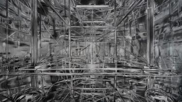 Jack Damer, Sound Room, 2020. Mixed media drawing, 28 x 42 inches.