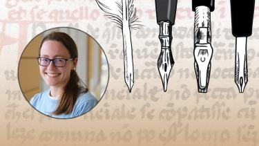 Photo of Jacki Whisenant and a sketch of pens