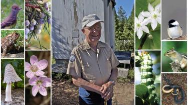 Roy Lukes in his element at the Ridges Sanctuary in Baileys Harbor, Door County (photo by Len Villano). Photographs taken by Lukes and published in his regular Peninsula Pulse nature column bring the plants and animals of Door County to life.