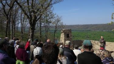 Stanley A. Temple addresses the audience at the May 17, 2014, rededication of the Passenger Pigeon Monument at Wyalusing State Park. Temple, who led the effort to restore the 67-year old monument, has traveled the U.S. this year on a speaking tour in observance of the centenary of the extinction of the species.