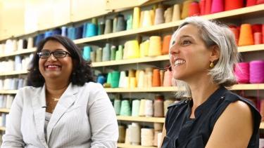 Photo of Madison Chemist Trisha Andrew and fabric artists Marianne Fairbanks