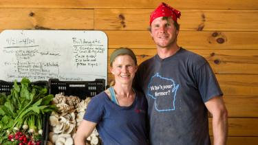 Kat Becker and Tony Schultz of Stoney Acres Farms in Athens, Wisconsin. Photo by James Gill/Wisconsin Public Television.