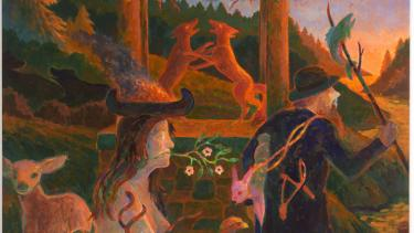 Randall Berndt, The Taming of Nature, 2014. Acrylic on board, 18 x 19 in.