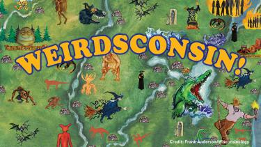 Frank Anderson's (Wisconsinology) Wisconsin Monsters Myths and Legends poster forms the backdrop for this event image