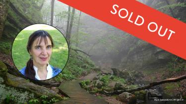 Instructor Catherine Young and an idyllic scene from Parfrey's Glen